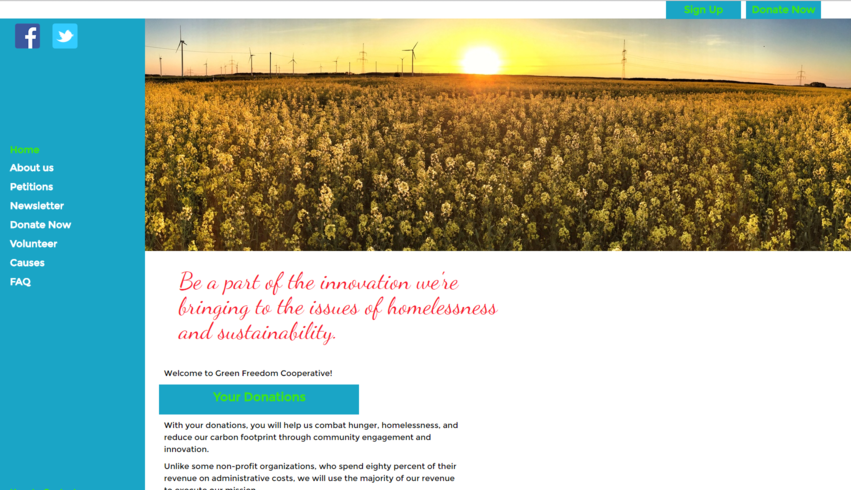 Picture of Green Freedom Cooperative's first website
